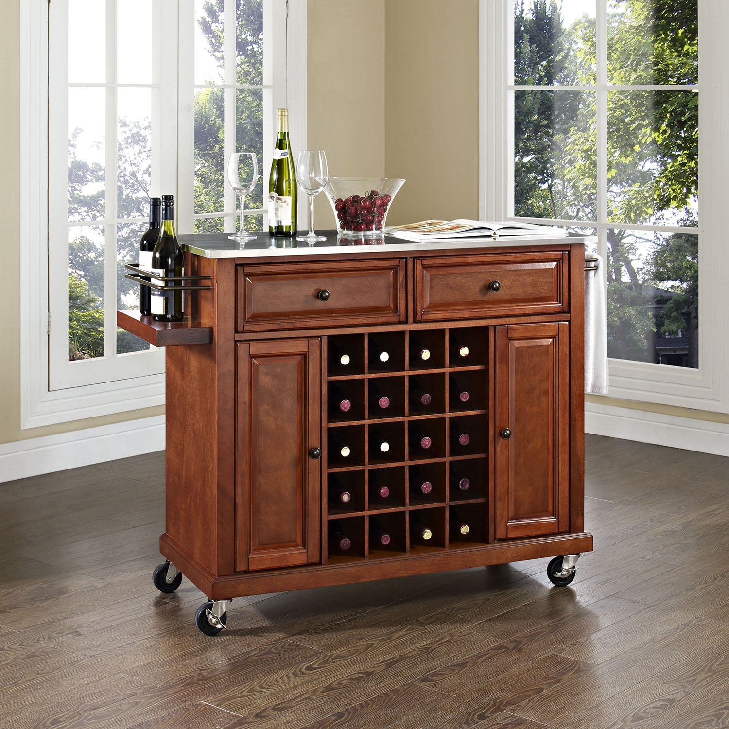 Stainless Steel Top Wine Cart - Classic Cherry - CROS-KF31002ECH