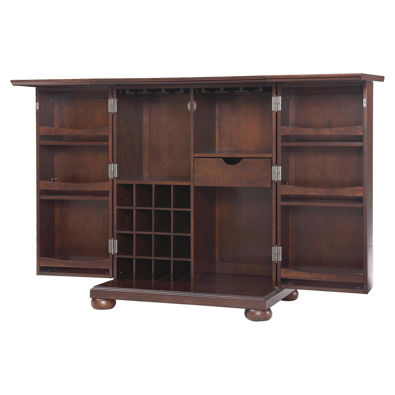 Alexandria Expandable Home Bar Liquor Cabinet: Alexandria Expandable Bar Cabinet - Vintage Mahogany