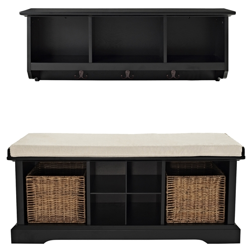 brennan 2 pieces entryway bench and shelf set black. Black Bedroom Furniture Sets. Home Design Ideas