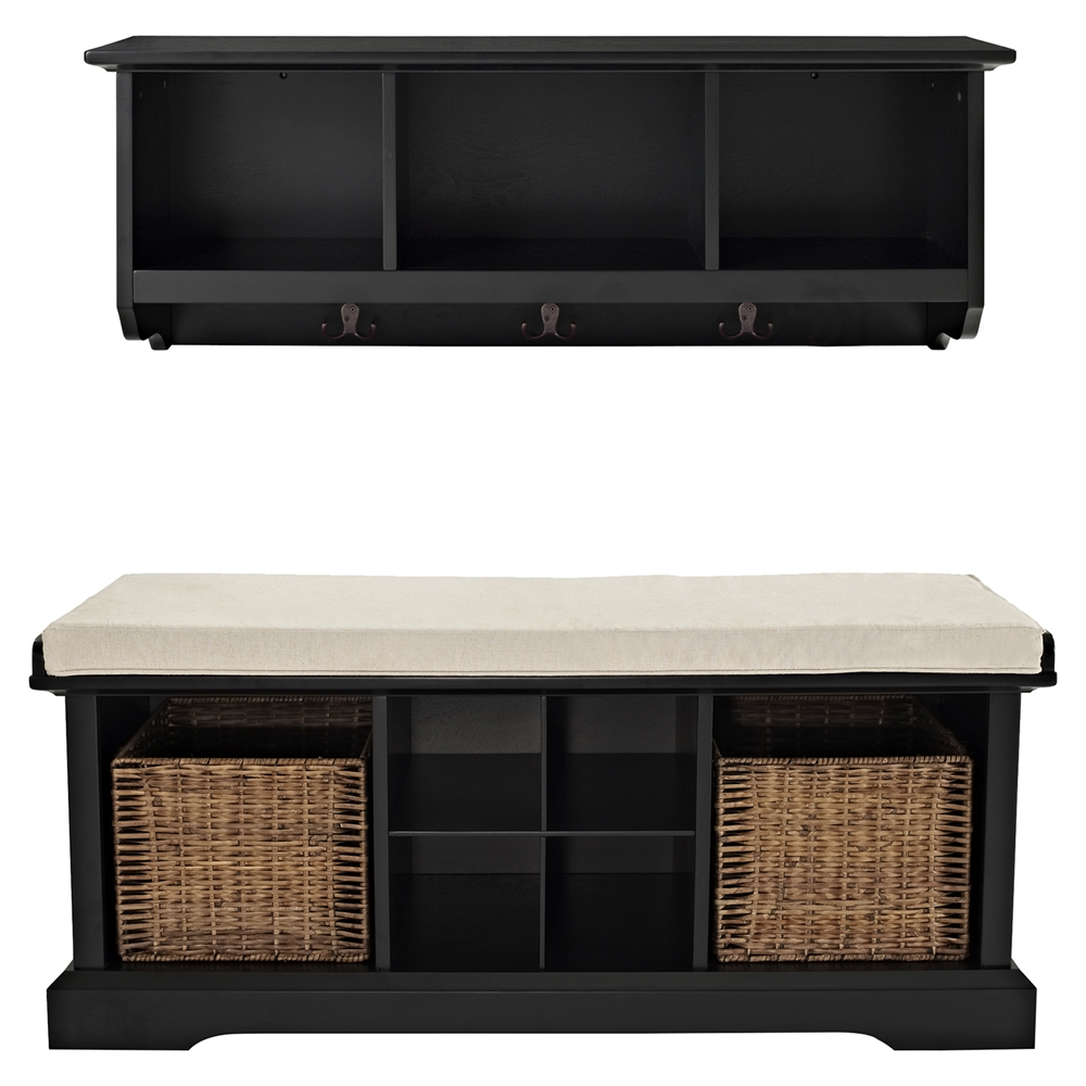 Brennan 2 Pieces Entryway Bench And Shelf Set Black