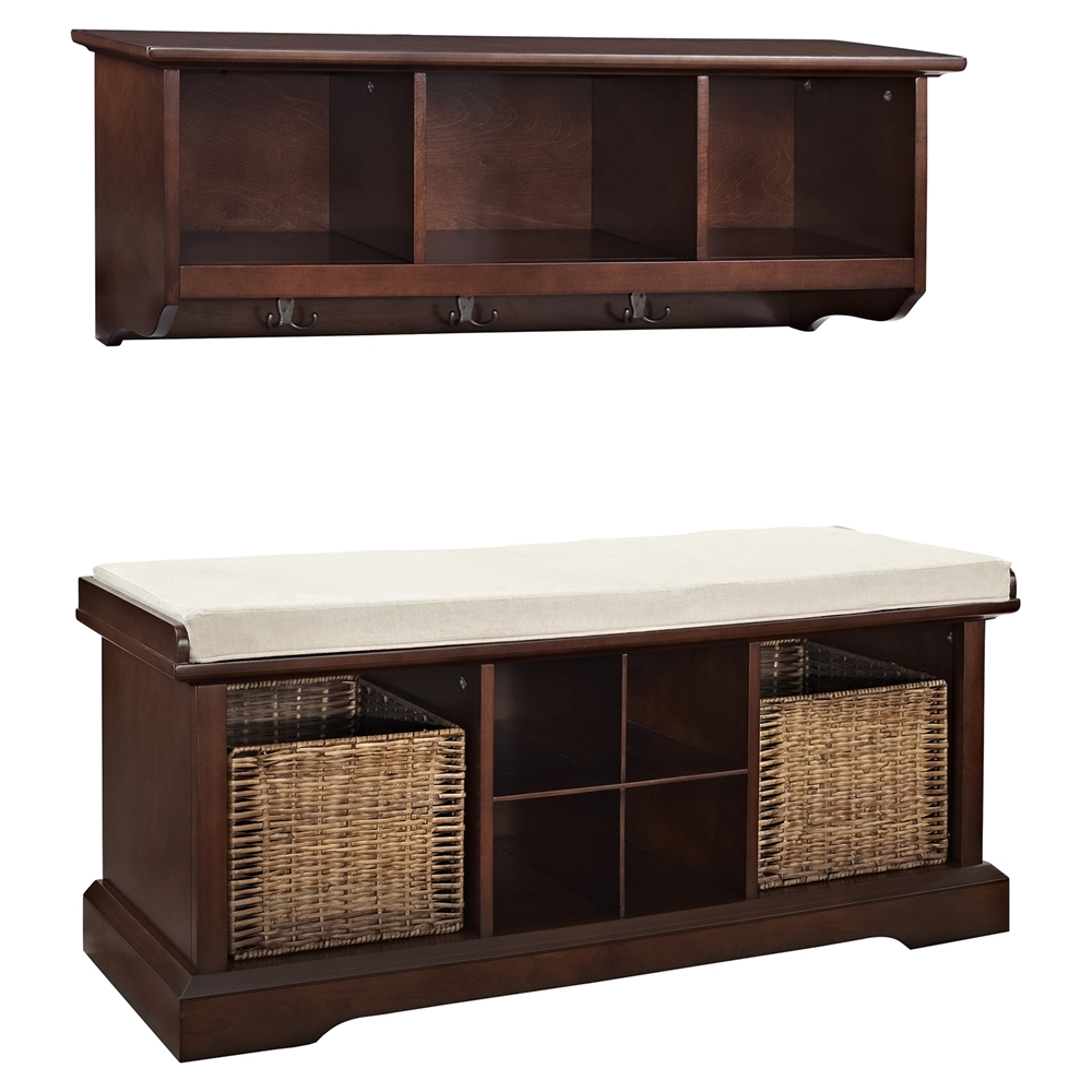 Brennan 2 pieces entryway bench and shelf set mahogany dcg stores Entryway bench and shelf