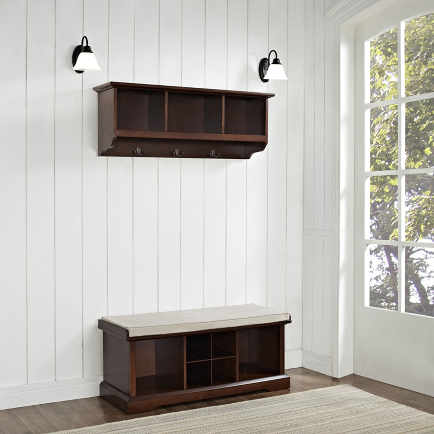 Brennan 2 Pieces Entryway Bench And Shelf Set Mahogany