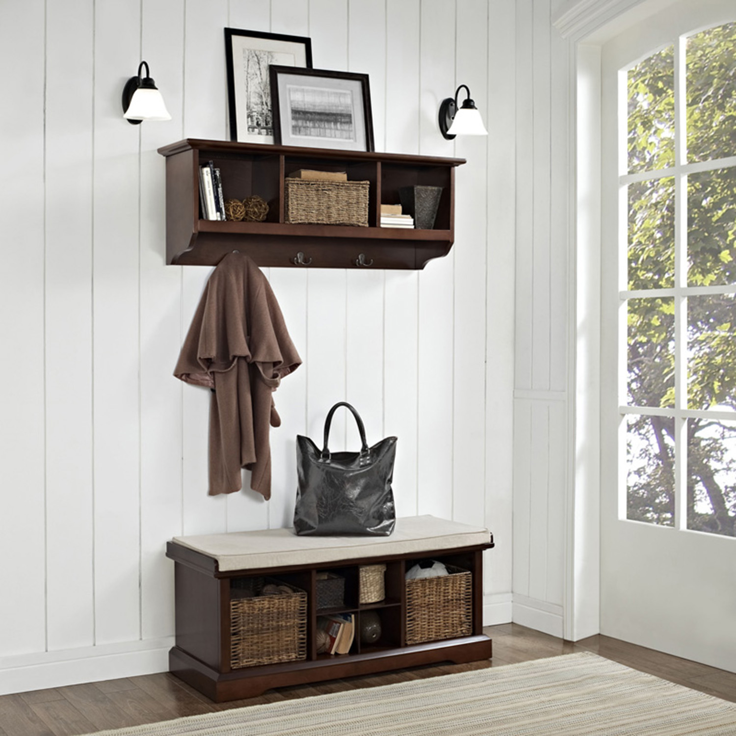 Brennan 2 Pieces Entryway Bench and Shelf Set - Mahogany - CROS-KF60001MA