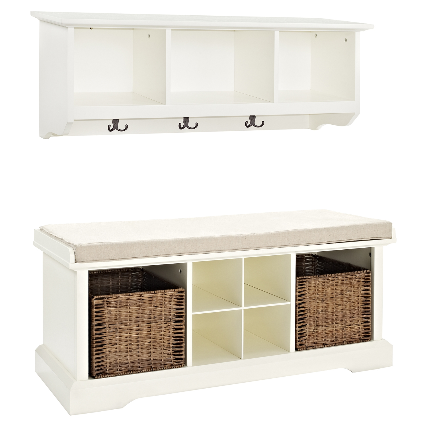 Brennan 2 Pieces Entryway Bench and Shelf Set - White - CROS-KF60001WH