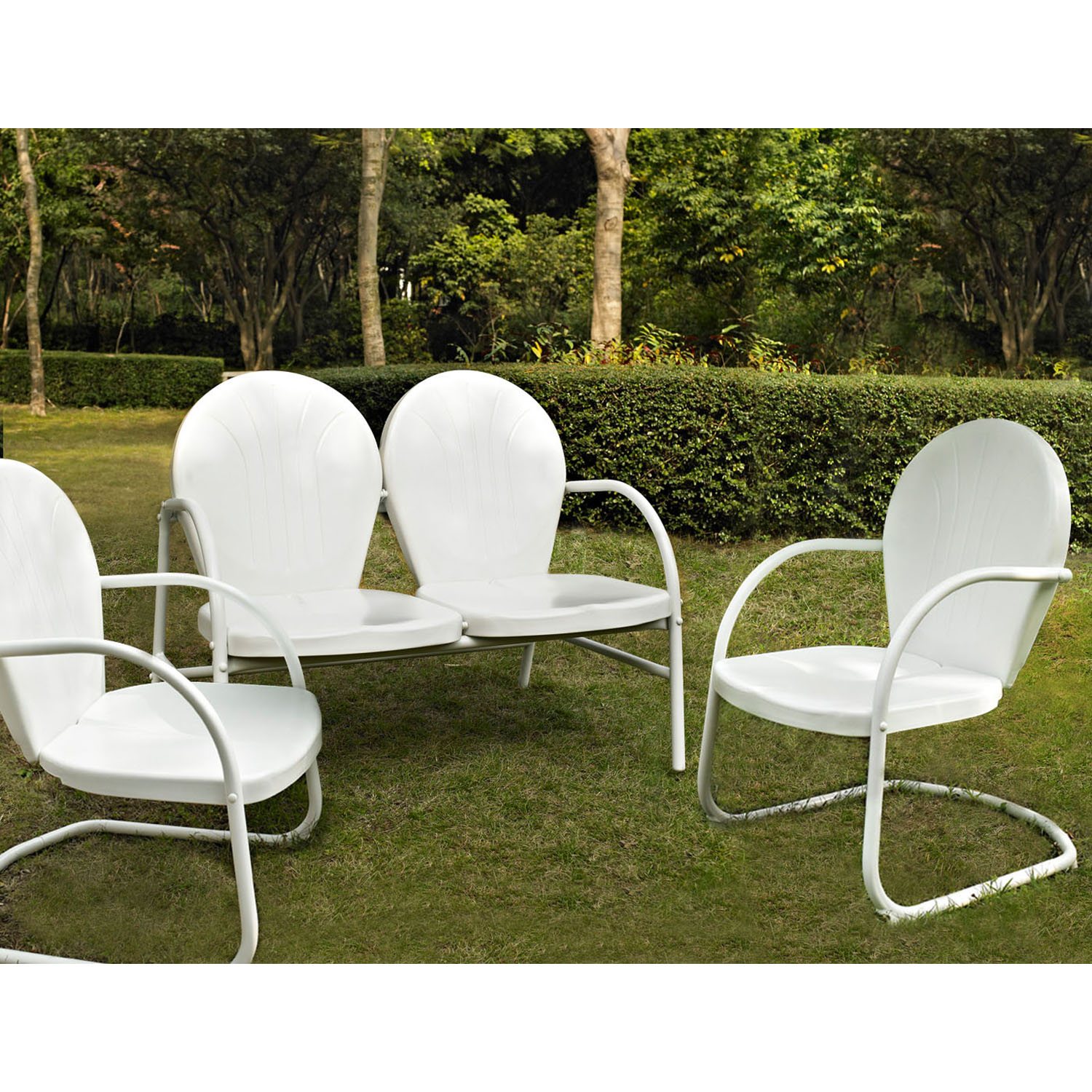 Griffith 3-Piece Conversation Seating Set - 2 Chairs and Loveseat, White - CROS-KO10002WH