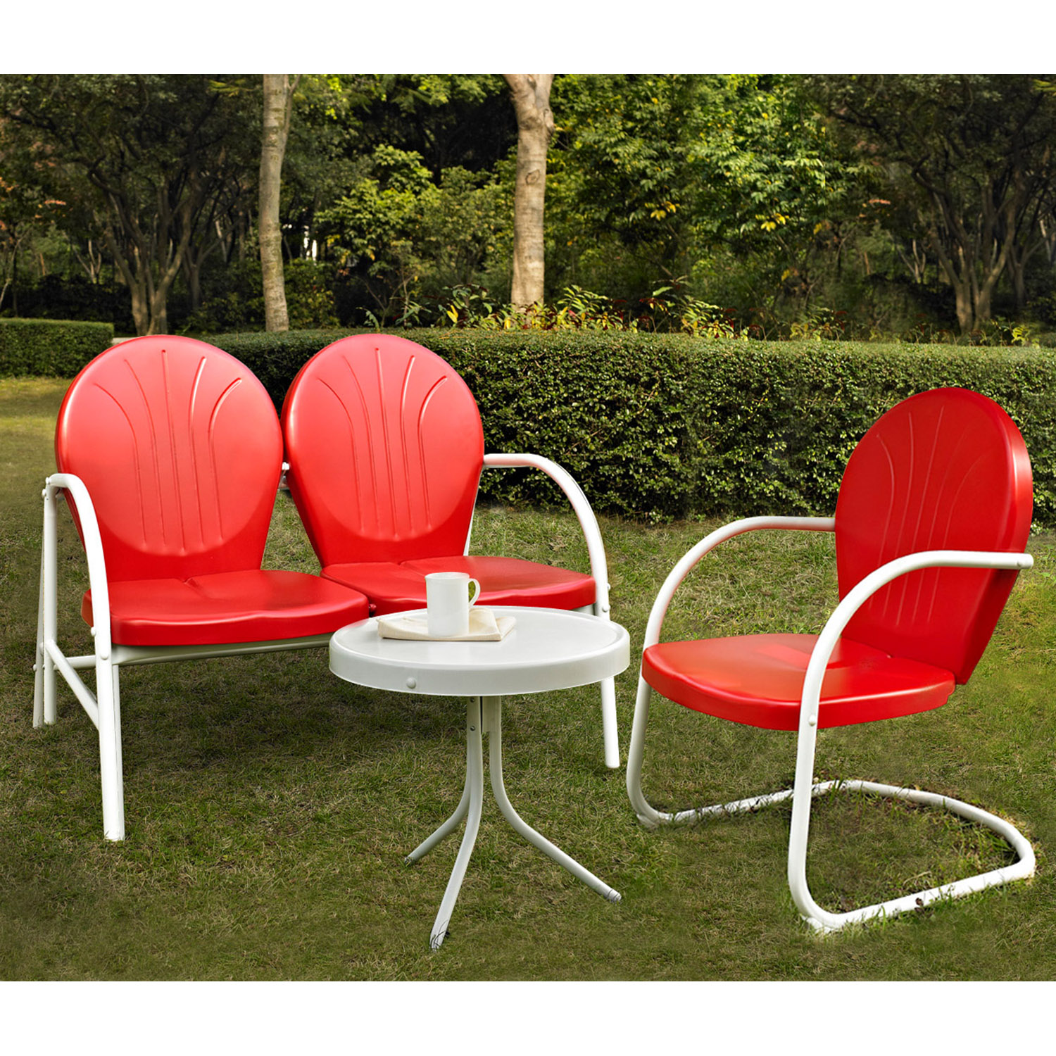 Griffith 3-Piece Conversation Seating Set - Red Chairs and Loveseat - CROS-KO10003RE