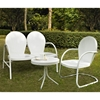 Griffith 3-Piece Conversation Seating Set - White Chairs and Loveseat - CROS-KO10003WH