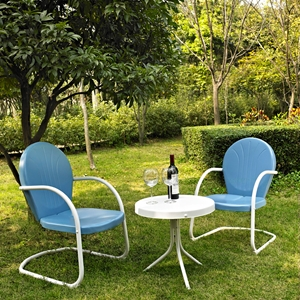 Griffith 3-Piece Conversation Seating Set - Sky Blue Chairs, White Table