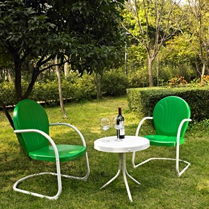 Griffith 3-Piece Conversation Seating Set - Green Chairs, White Table