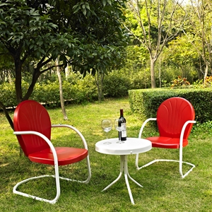 Griffith 3-Piece Conversation Seating Set - Red Chairs, White Table