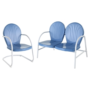 Griffith 2-Piece Metal Outdoor Conversation Seating Set - Sky Blue