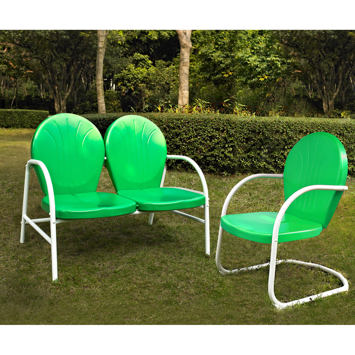 Griffith 2-Piece Metal Outdoor Conversation Seating Set - Grasshopper Green - CROS-KO10005GR