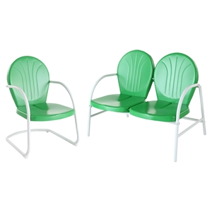 Griffith 2-Piece Metal Outdoor Conversation Seating Set - Grasshopper Green