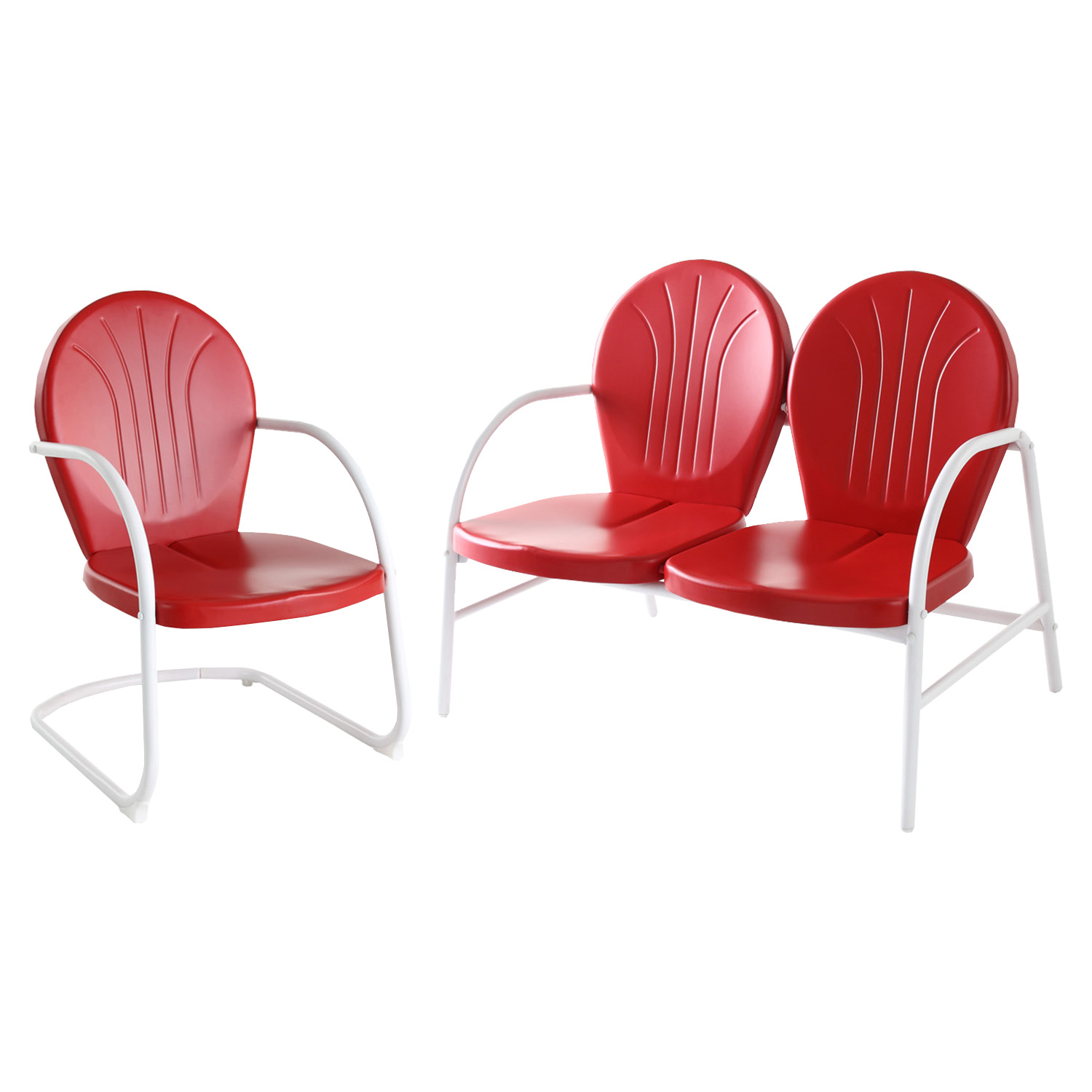 Griffith 2-Piece Metal Outdoor Conversation Seating Set - Red - CROS-KO10005RE