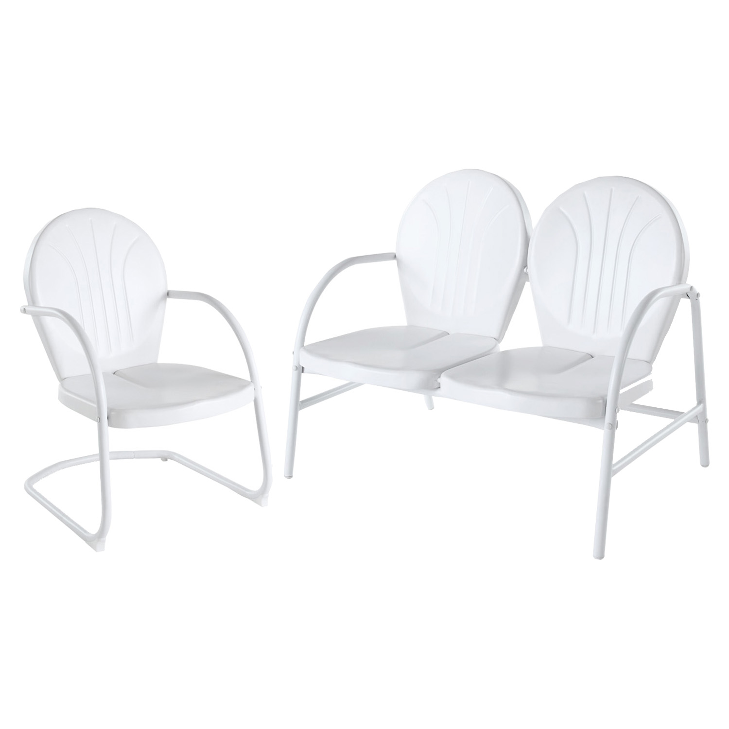 Griffith 2-Piece Metal Outdoor Conversation Seating Set - White - CROS-KO10005WH