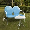 Griffith 2 Piece Conversation Seating Set - Blue Loveseat, White Table - CROS-KO10006BL