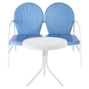Griffith 2 Piece Conversation Seating Set - Blue Loveseat, White Table