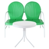 Griffith 2 Piece Conversation Seating Set - Green Loveseat, White Table - CROS-KO10006GR