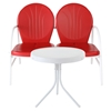 Griffith 2 Piece Conversation Seating Set - Red Loveseat, White Table - CROS-KO10006RE