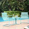Gracie 3-Piece Conversation Seating Set - Caribbean Blue - CROS-KO10007BL
