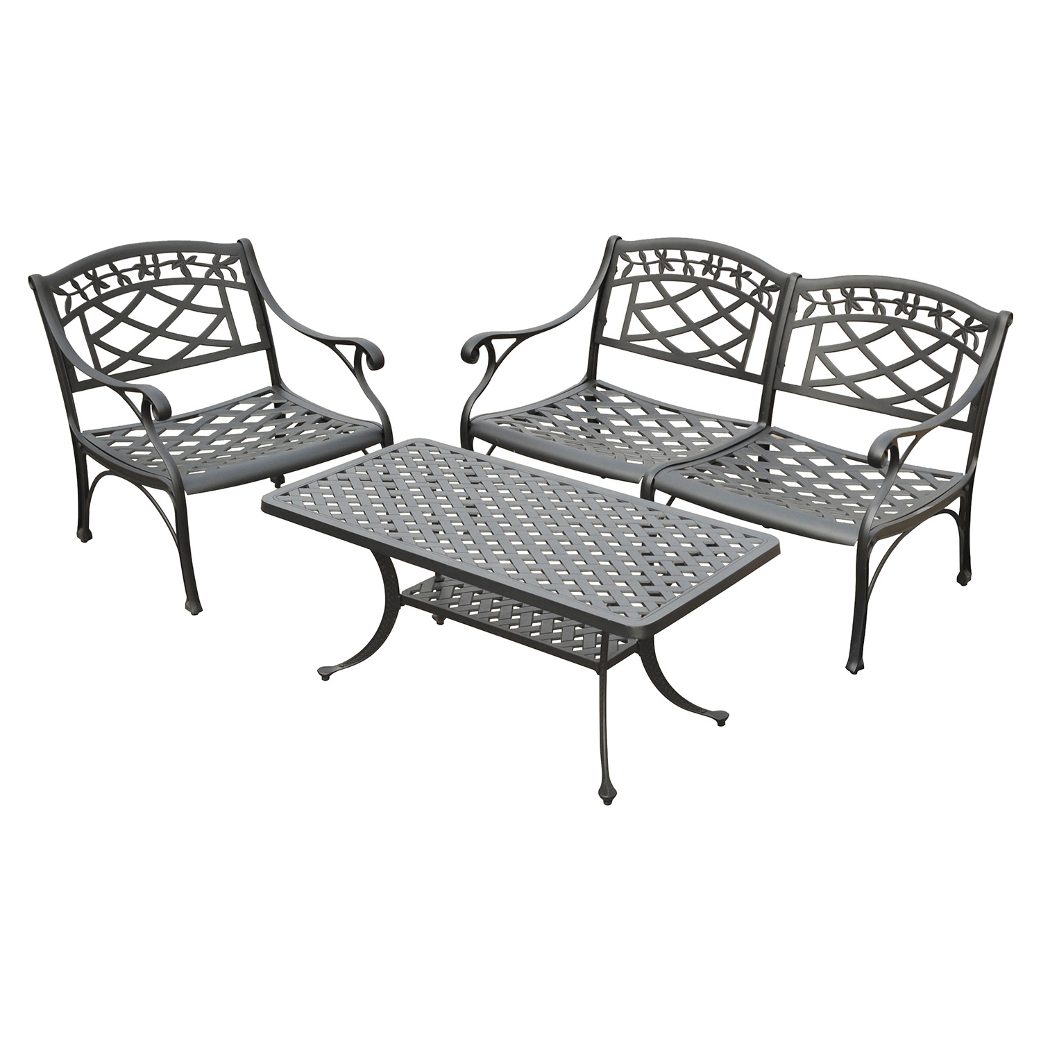 Sedona 3-Piece Conversation Seating Set - Charcoal Black - CROS-KO60003BK