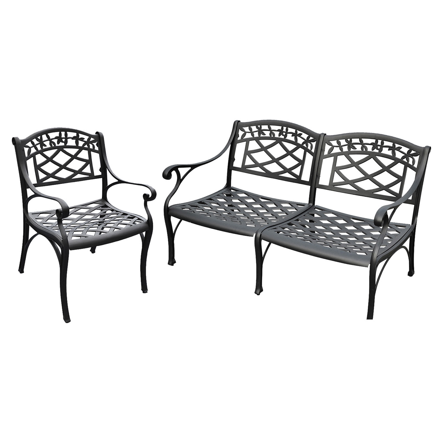 Sedona Conversation Loveseat and Club Chair - Cast Aluminum, Black - CROS-KO60004BK