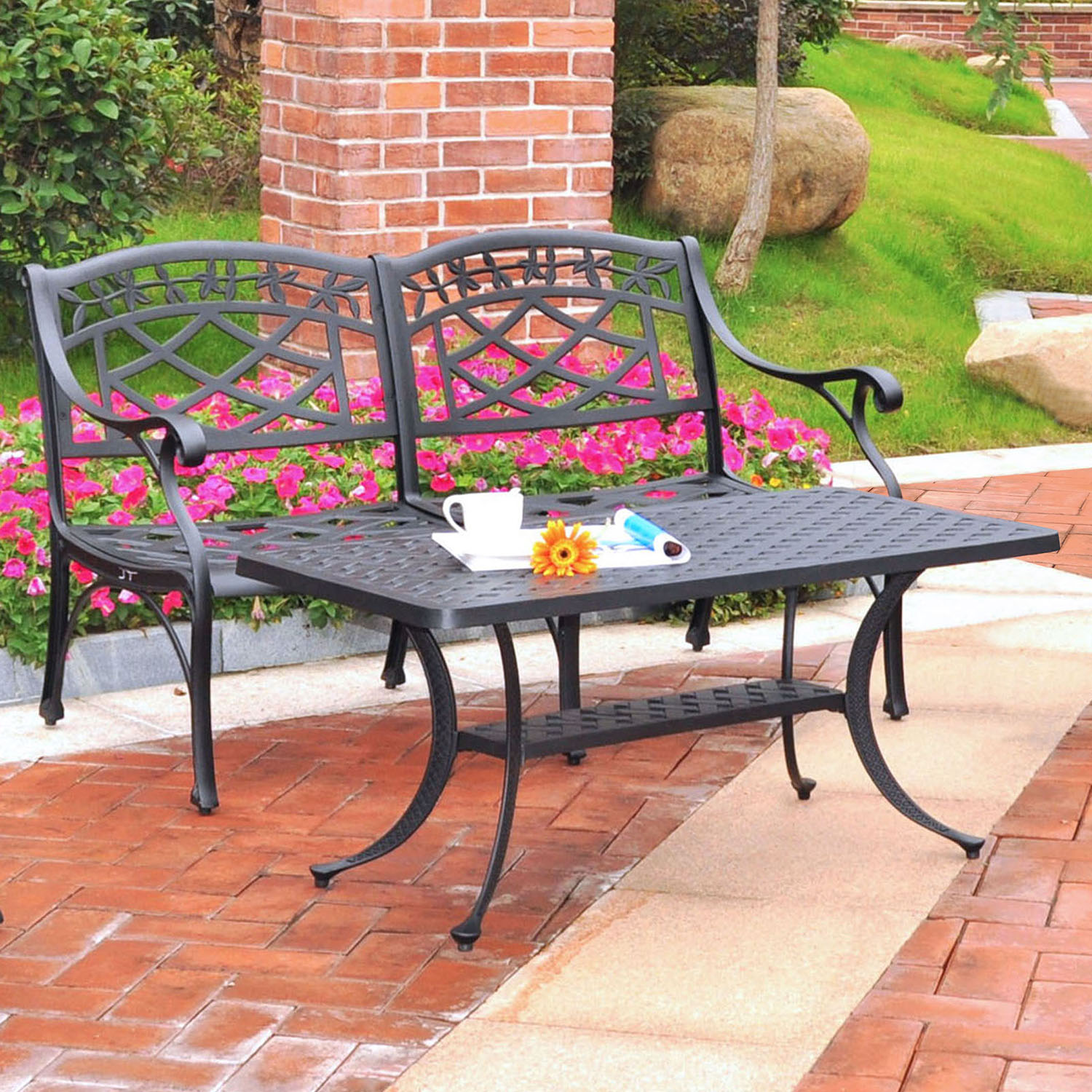 Sedona Loveseat and Cocktail Table - Cast Aluminum, Charcoal Black - CROS-KO60005BK