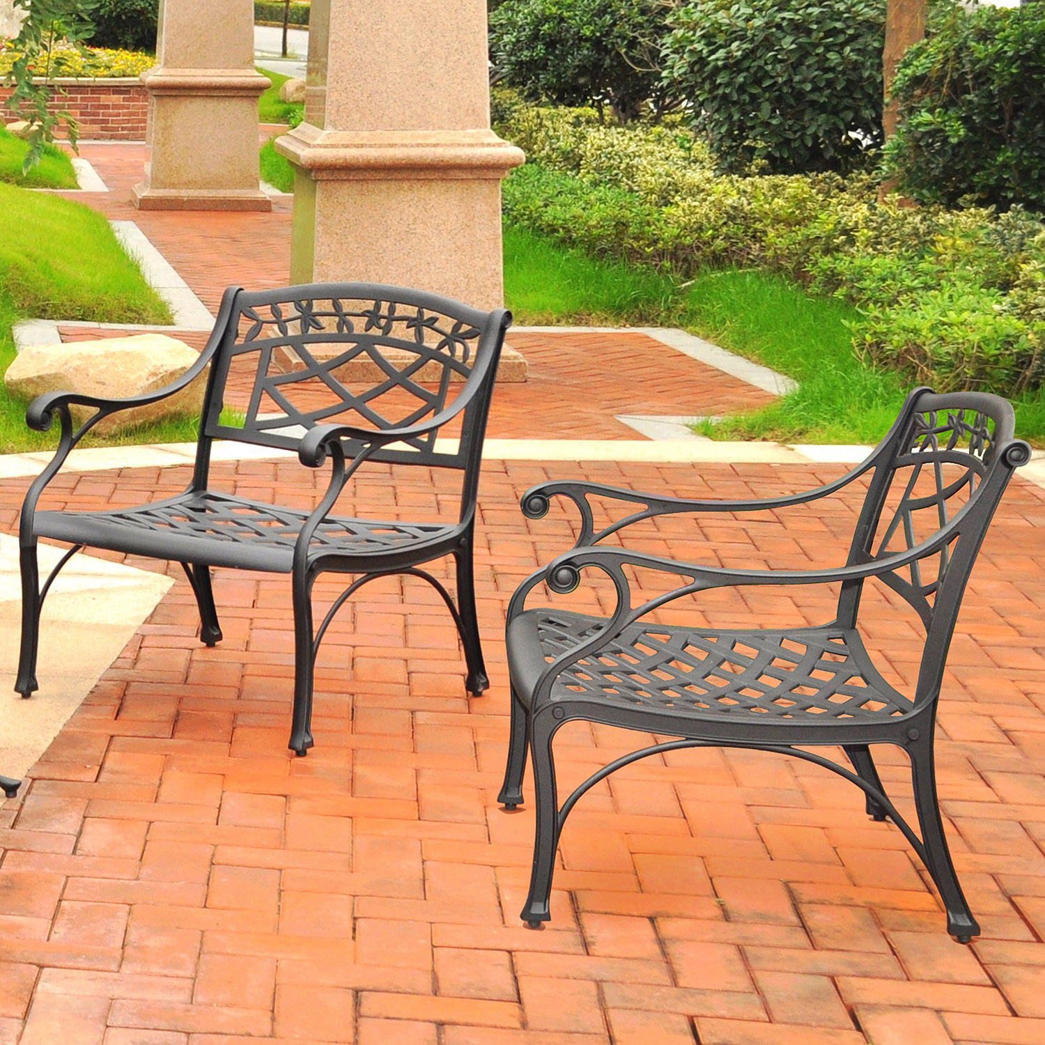 Sedona 2-Piece Conversation Seating Set - Cast Aluminum, Charcoal Black - CROS-KO60006BK