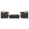 Palm Harbor 3 PC Wicker Seating Set - Dark Brown, 2 Chairs, Glass Top Table - CROS-KO70004BR