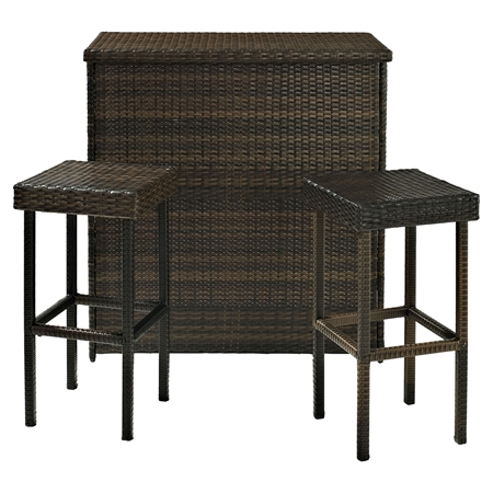 Palm Harbor 3 Piece Outdoor Wicker Bar Set Dark Brown