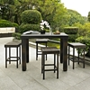Palm Harbor 5-Piece Outdoor Wicker High Dining Set - Dark Brown - CROS-KO70010BR