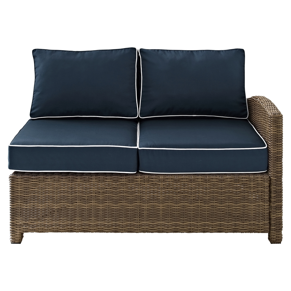 Bradenton outdoor wicker sectional right corner loveseat navy cushions dcg stores Loveseat cushions outdoor