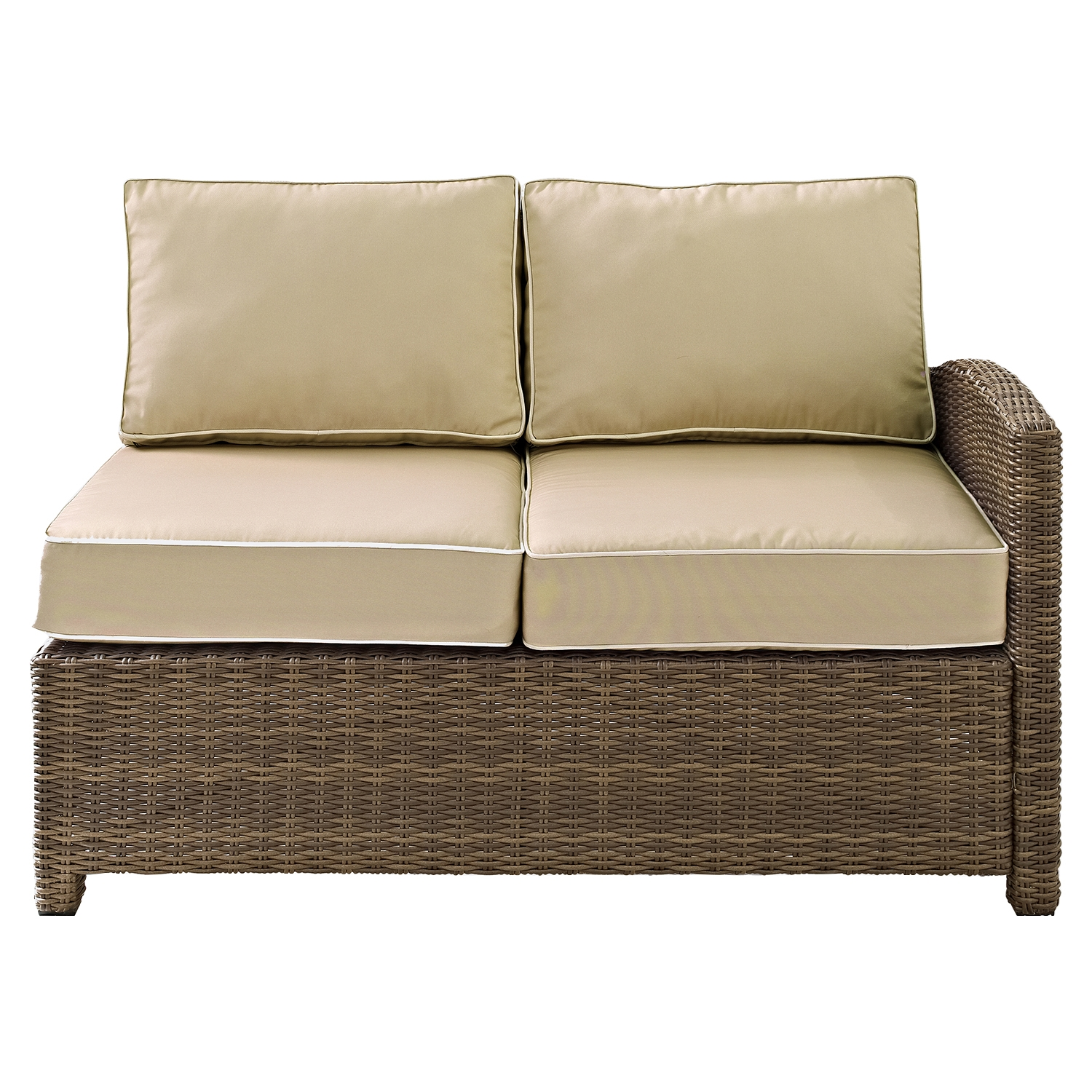 Bradenton Outdoor Wicker Sectional Right Corner Loveseat - Sand Cushions - CROS-KO70015WB-SA