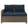 Bradenton Outdoor Wicker Sectional Left Corner Loveseat - Navy Cushions - CROS-KO70016WB-NV
