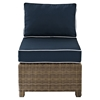 Bradenton Outdoor Wicker Sectional Center Chair - Navy Cushions - CROS-KO70017WB-NV
