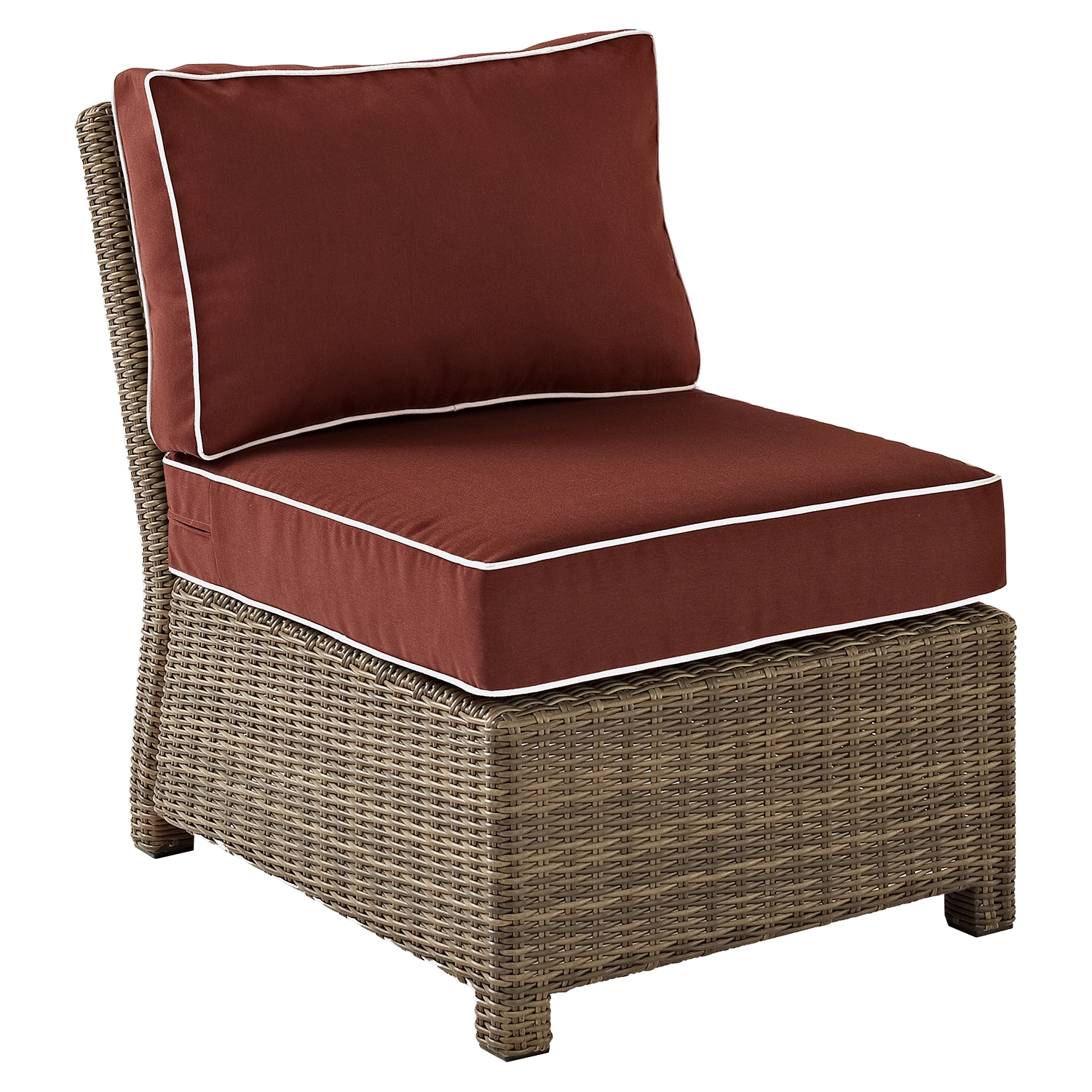 Bradenton Outdoor Wicker Sectional Center Chair - Sangria Cushions - CROS-KO70017WB-SG