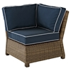 Bradenton Outdoor Wicker Sectional Corner Chair - Navy Cushions - CROS-KO70018WB-NV