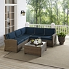 Bradenton 4-Piece Outdoor Seating Set - Navy Cushions, Light Brown Wicker - CROS-KO70019WB-NV