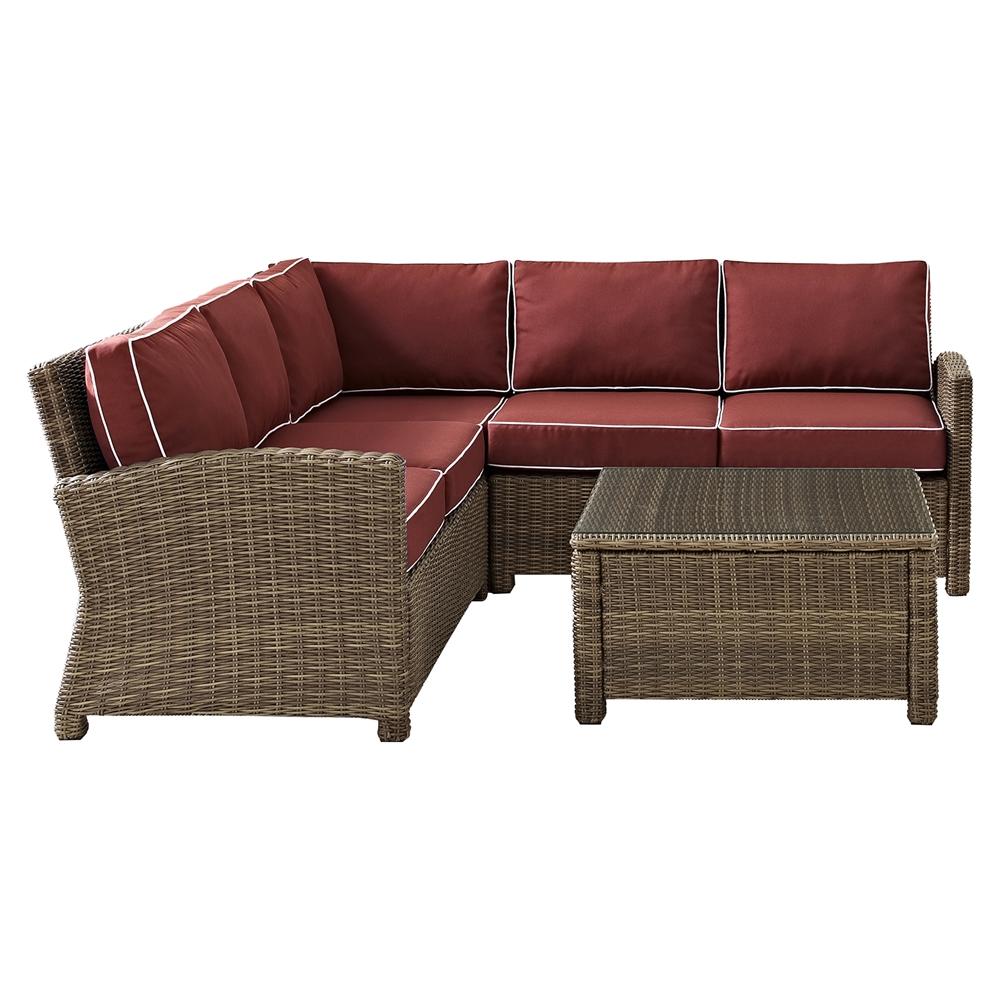 Bradenton 4 Pc Outdoor Seating Set Sangria Cushions