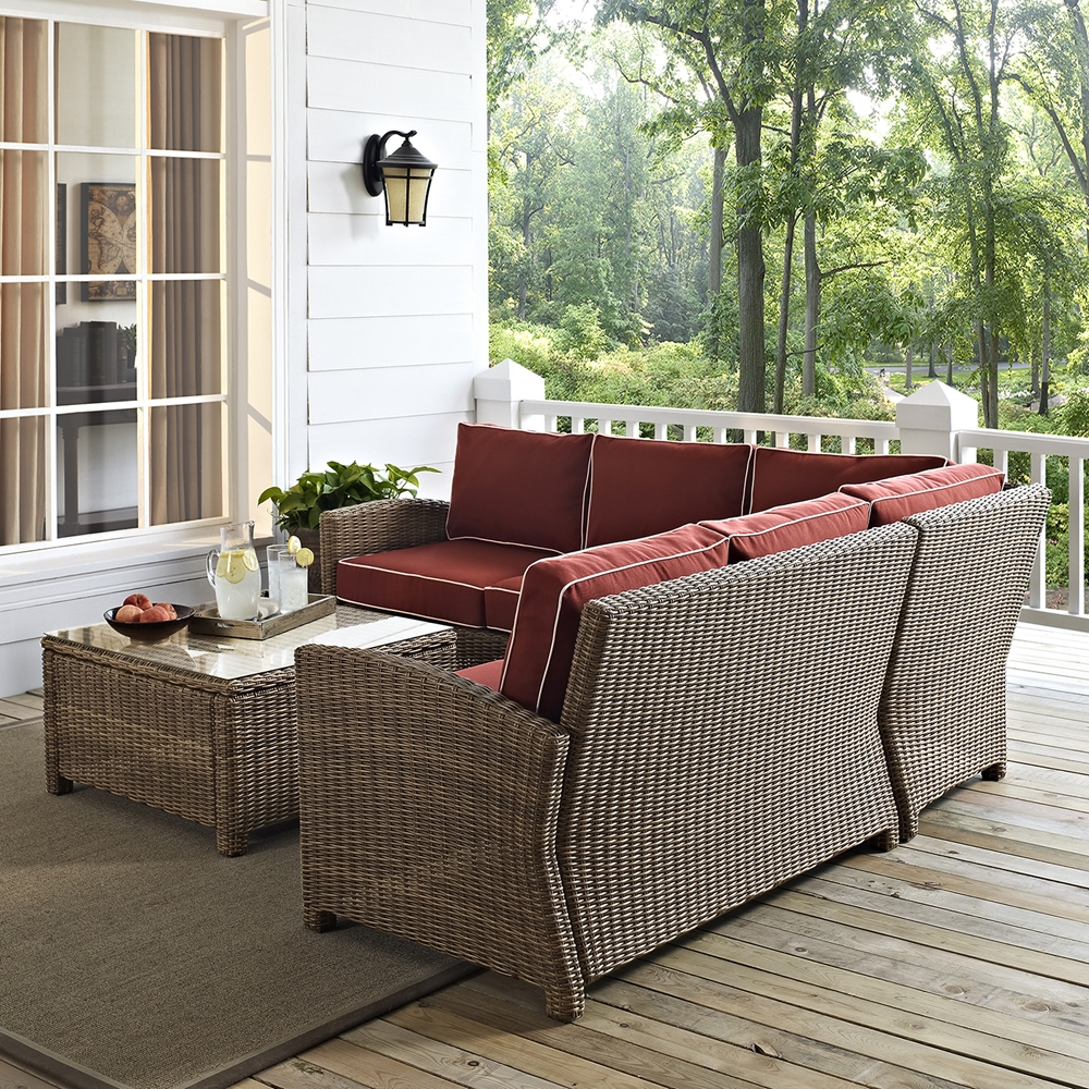 Bradenton 4 Pc Outdoor Seating Set Sangria Cushions