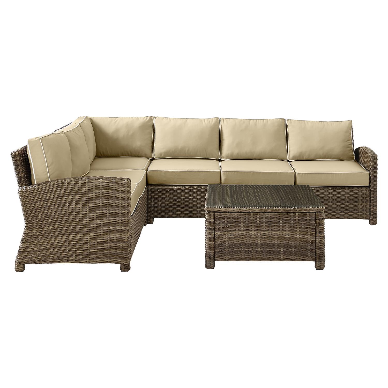 ... Bradenton 5 Piece Outdoor Seating Set   Sand Cushions, Light Brown  Wicker   CROS ...