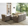 Bradenton 5-Piece Wicker Seating Set - Sand Cushions - CROS-KO70021WB-SA