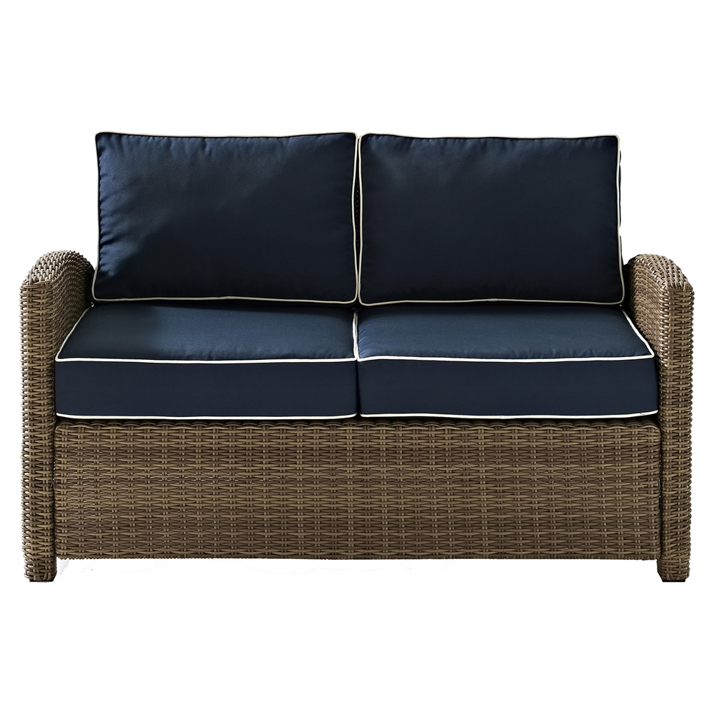 Bradenton outdoor wicker loveseat navy cushions dcg stores Loveseat cushions outdoor