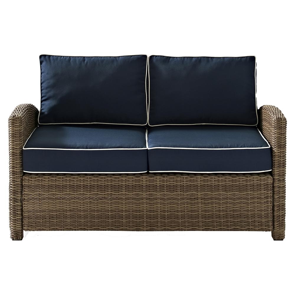 Bradenton Outdoor Wicker Loveseat Navy Cushions Dcg Stores