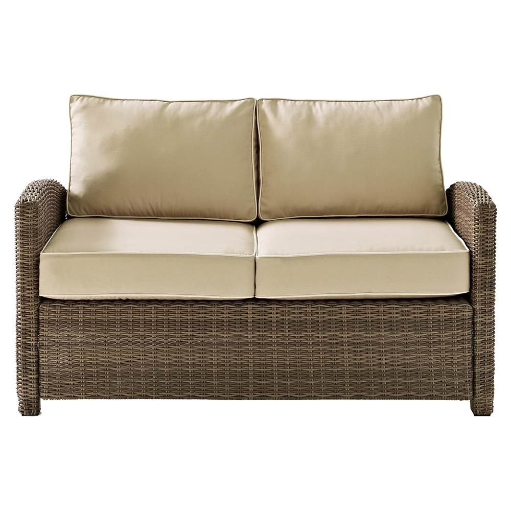 Bradenton Outdoor Wicker Loveseat Sand Cushions Dcg Stores