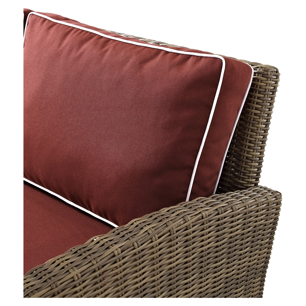 Bradenton Outdoor Wicker Loveseat Sangria Cushions Dcg Stores