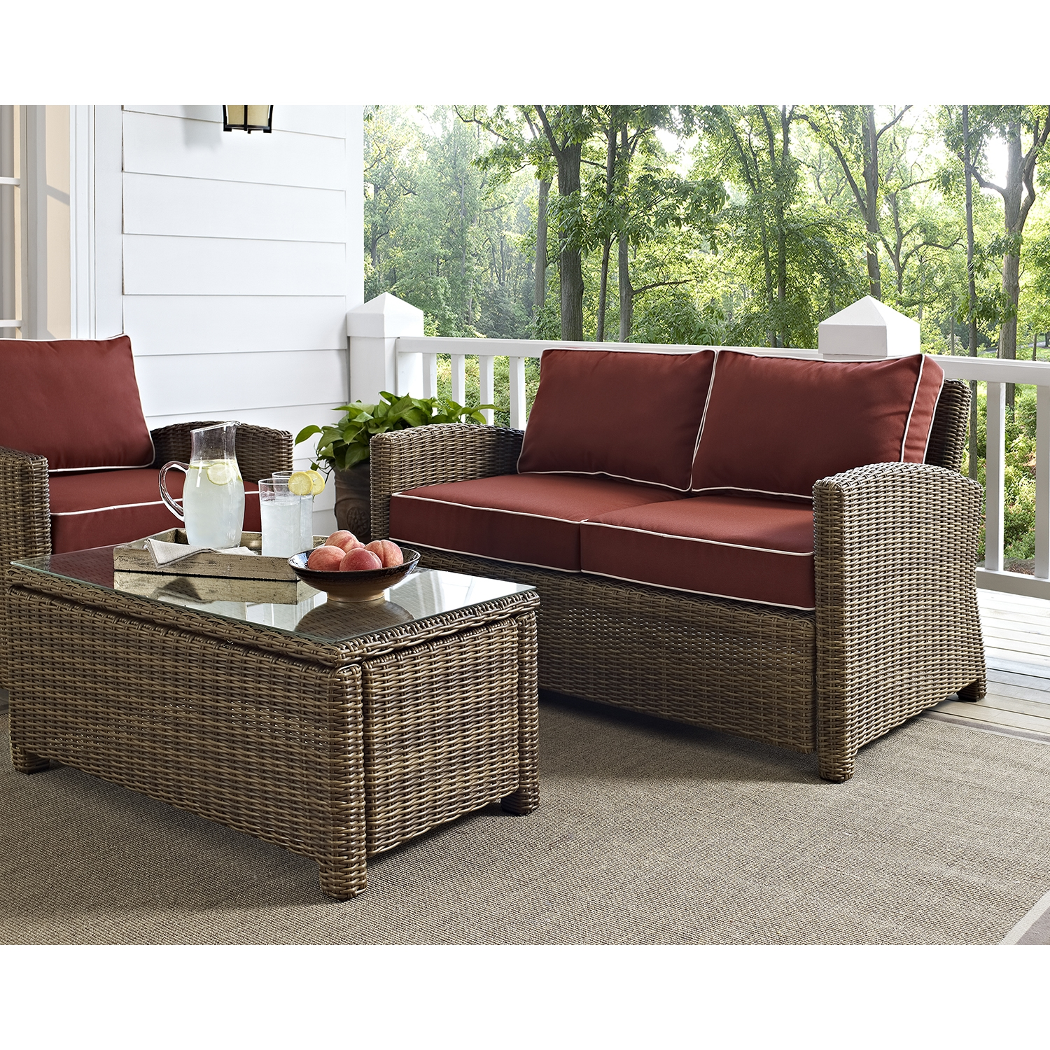 Bradenton Outdoor Wicker Loveseat - Sangria Cushions - CROS-KO70022WB-SG