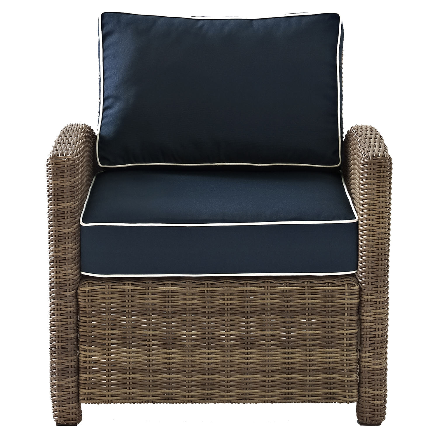 Bradenton Outdoor Wicker Arm Chair - Navy Cushions - CROS-KO70023WB-NV