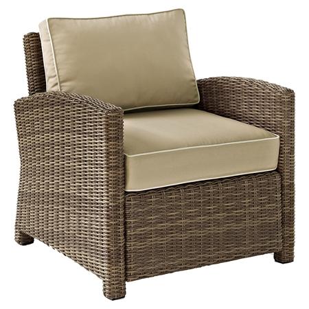Bradenton Outdoor Wicker Arm Chair Sand Cushions DCG Stores