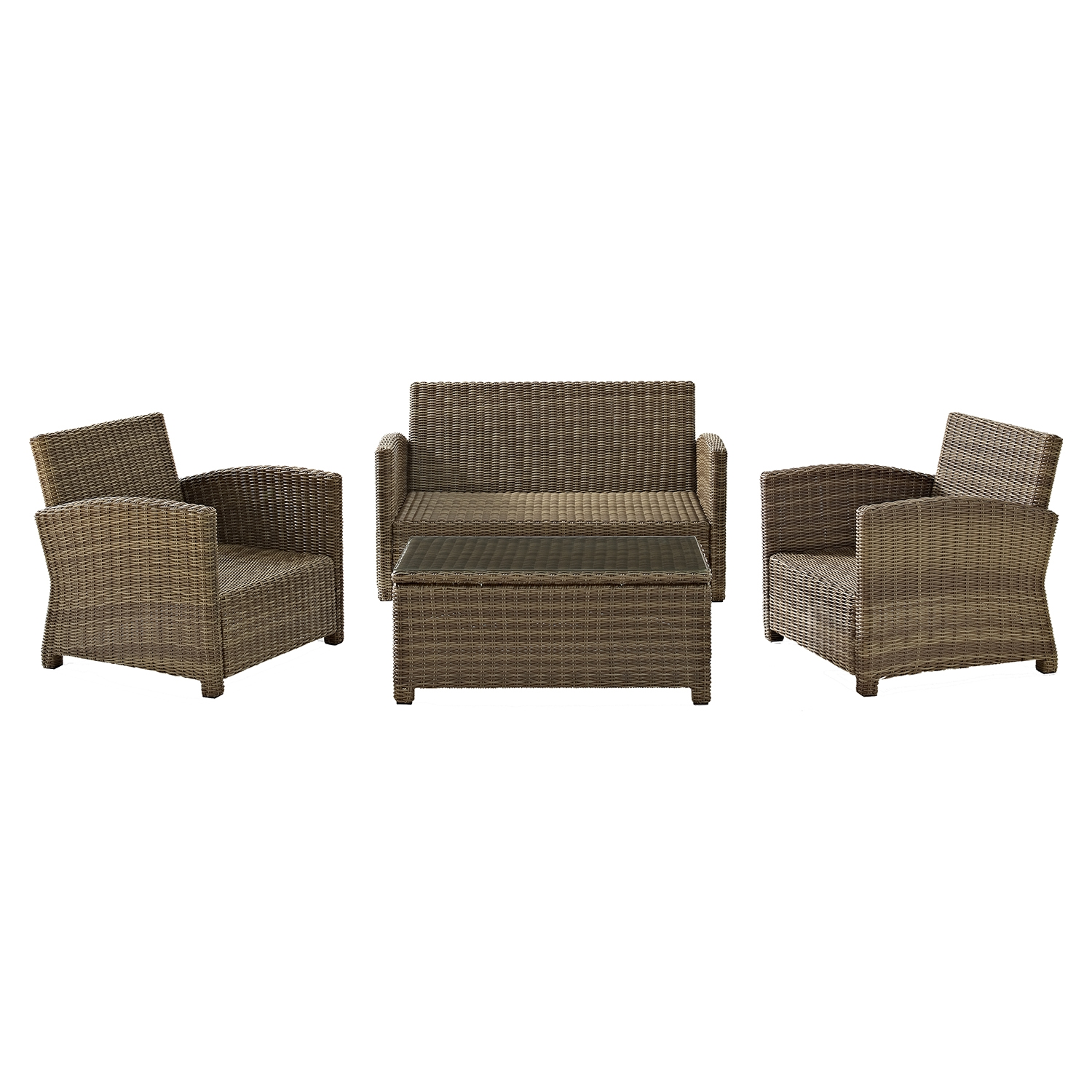 Bradenton 4-Piece Wicker Seating Set - Navy Cushions - CROS-KO70024WB-NV